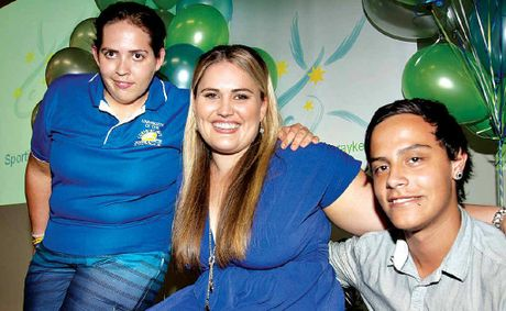 Marayke Jonkers (centre) with her sporting friends, Sara Wessling and Jarrod Law, at the Sporting Dreams Foundation awards function at University of the Sunshine Coast last night. - Warren Lynam