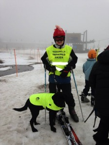 At the snow with guide dog ekka